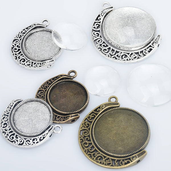 18mm/25mm Moon Charms Double Sided Cameo Cabochon Base Setting Pendants Rotate Pendant Trays with Glass Cabochon 10pcs 10286