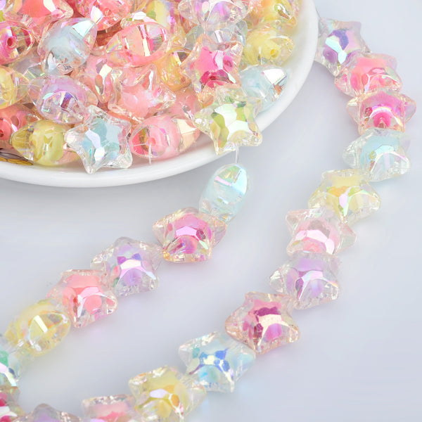 19mm Acrylic Star Bead AB Translucent Resin Beads Iridescent Pastel Star Beads Random mixed Plastic Beads 50pcs 10286049