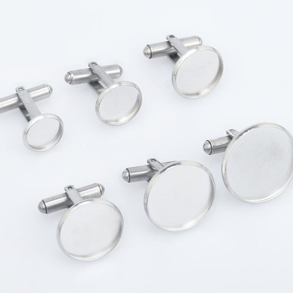 Stainless Steel Cufflink Blanks French Cufflink Base with 10/12/14/16/18/20mm Round Bezel Base Settings Cufflink Findings 5pcs 102863