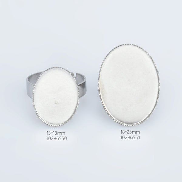 Stainless Steel Oval Adjustable Ring Blank Base Ring Setting Cameo Ring Base diy oval ring supplies 10pcs 102865