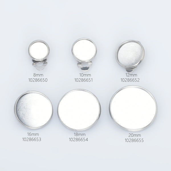 Stainless Steel Ear Clip Earring Base Earring blank trays fit 8/10/12/16/18/20mm Round Bezel Cup for jewelry making 20pcs 102866