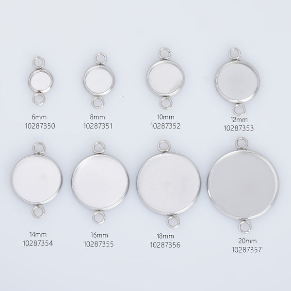 316 Stainless Steel Bracelet Base Settings Pendant Connectors 2 Loop Connector Setting fit 6/8/10/12/14/16/18/20mm Round cabochon 20pcs 102873
