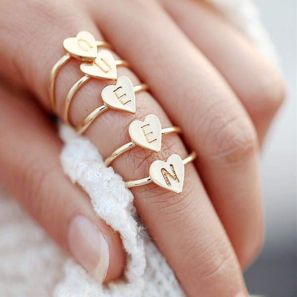 Zinc alloy Adjustable Dainty Initial Ring Personalized Heart Ring Letter Ring golden plated Mother's Day Gift 1pcs 102875