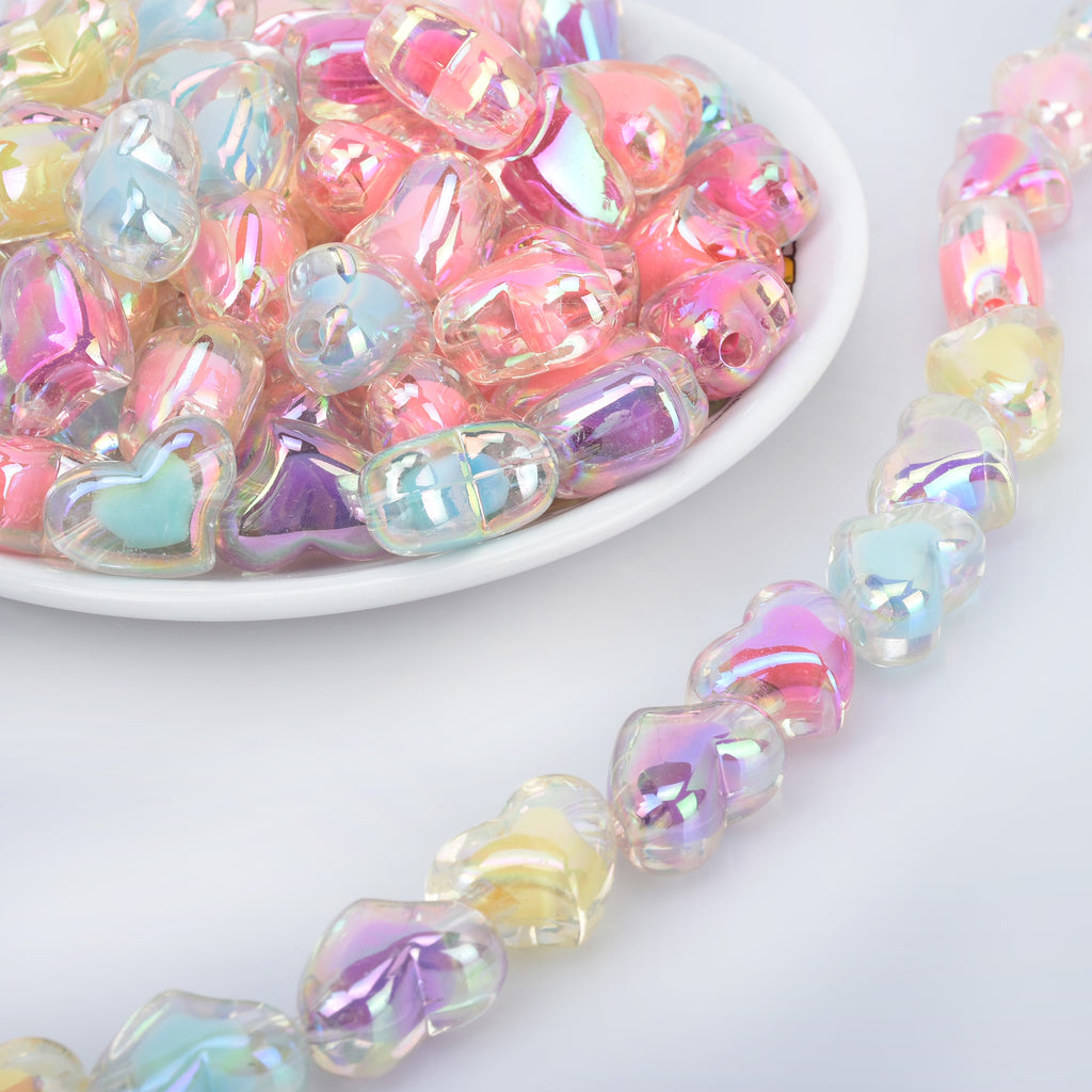 15*21mm Acrylic Heart Beads Pastel beads Translucent Double crooked Heart Acrylic or Resin Beads mixed 50pcs 10289250