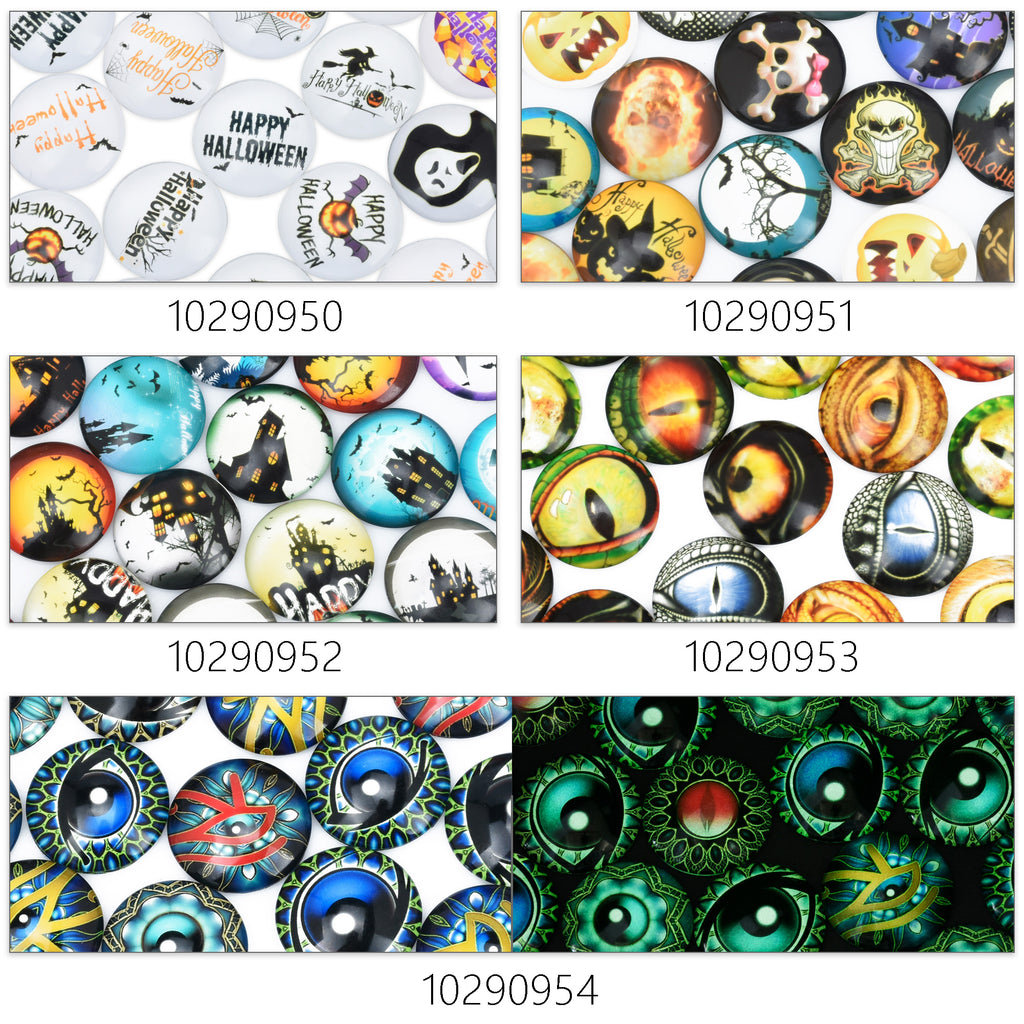 25mm Handmade Photo Glass Cabochons Halloween castle eye Cabochon Round cabochons Image Glass Cabochon 20pcs 102909