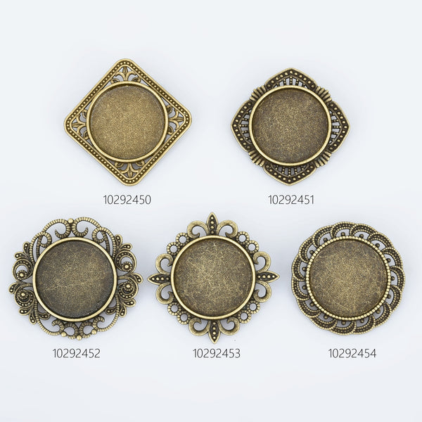 20mm Alloy brooch setting Brooch Pin Classic Style Brooch Round Cabochon Base Setting Antique Bronze 10pcs 102924