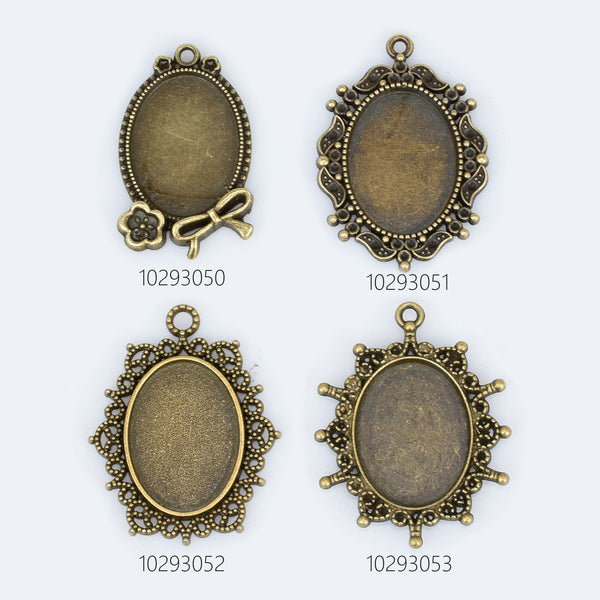 18x25mm Alloy Retro Oval Pendant Trays Cabochons Setting Tray Vintage Oval Blank Bezel Jewelry Findings 10pcs 102930