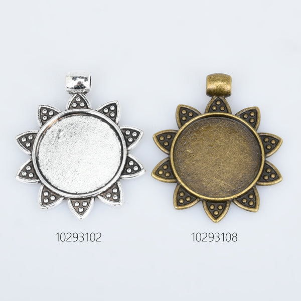 20mm Round Alloy Pendant Tray Vintage flower pendant setting with connector bail Jewelry Findings Pendants 10pcs 102931