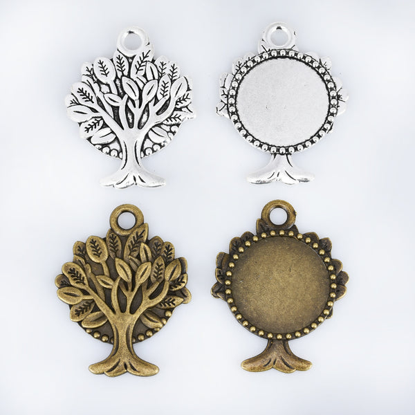 30mm Alloy Tree Pendant Bezel Setting Round Cabochon Base Setting Pendant Blank Tray Jewelry Findings 10pcs 102932