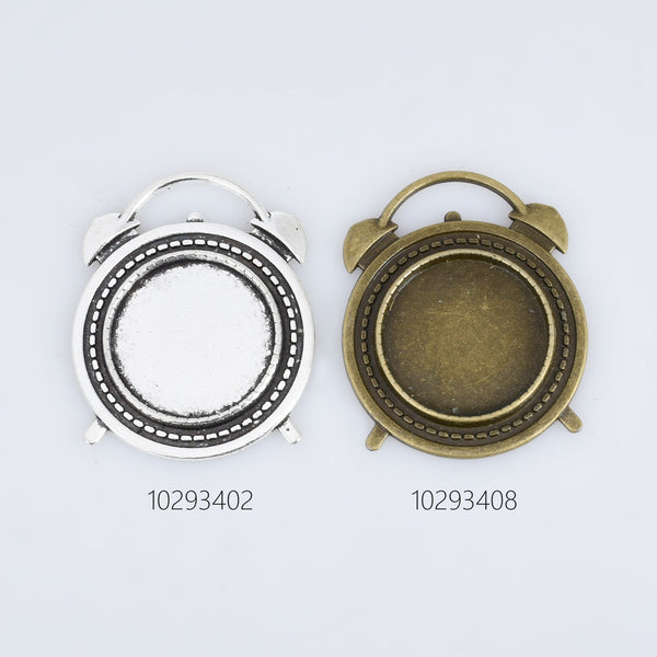 20mm Round Alloy Alarm Clock Pendant Trays Blank Bezel Cabochon Setting pendent charm DIY Jewelry accessories 10pcs 102934