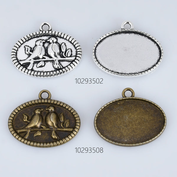 20*30mm Alloy Bird Pendant Trays Oval Pendant Settings Pendant Bases DiY Oval Bezel Pendant Trays Base 10pcs 102935