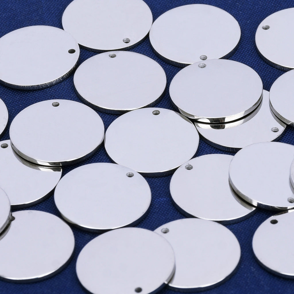 "9/16"" Stainless Steel Round Stamping Blank Charms stamping discs with hole Personalized Stamping 10pcs 10293850"