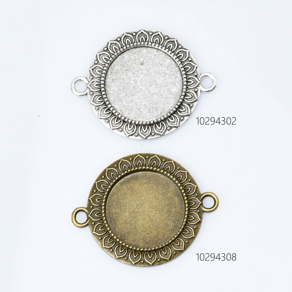 Alloy Round Connector Trays Double Loop Lotus lace Pendant Base fit 20mm round cabochons Tray Findings 10pcs 102943