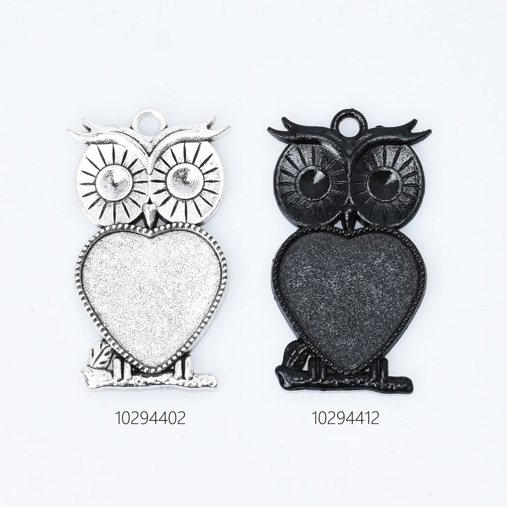 Owl Blank Bezel Pendant Trays alloy Owl Pendant Setting fit 20mm Heart Cabochon DIY Jewelry accessories 10pcs 102944