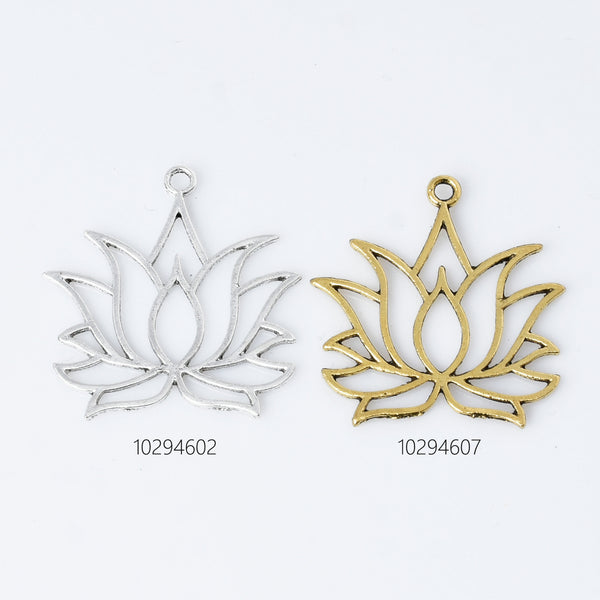 39*36mm Alloy Lotus Pendant Lotus Blossom charm Lotus Flower Pendant Lotus Jewelry Antique Silver 10pcs 102946