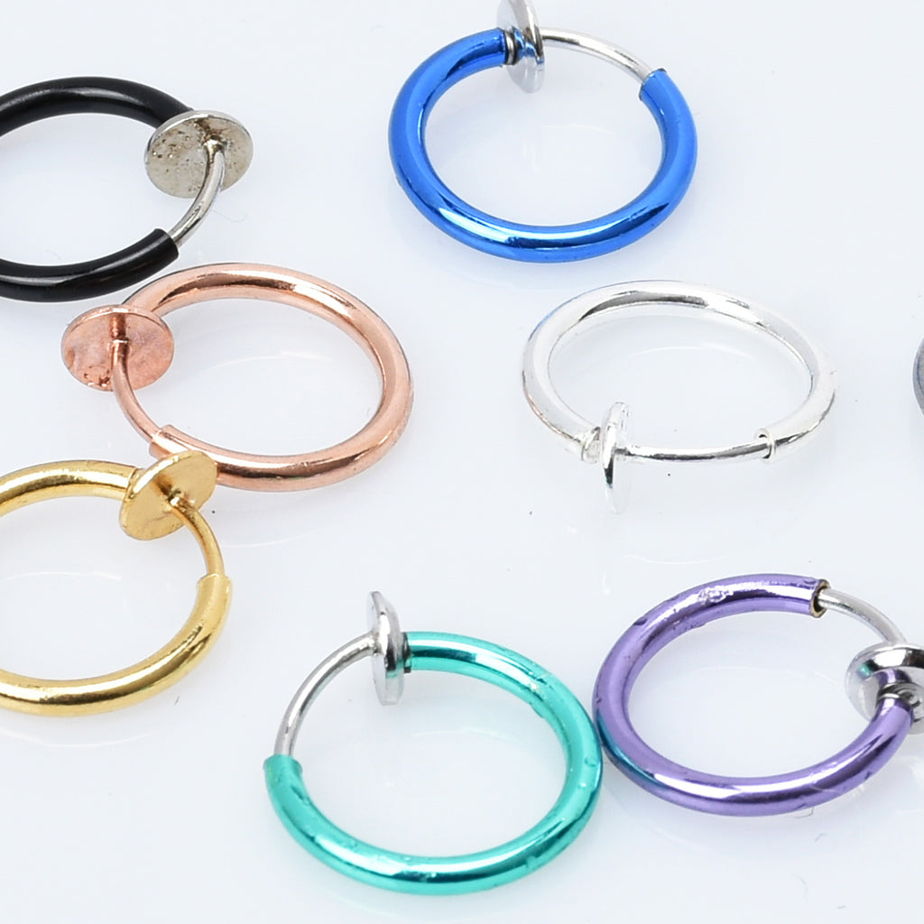 Clip On Earrings Hoops for Non Pierced Ears stainless steel round invisible earring clip Spring earring clip 10pcs 102950