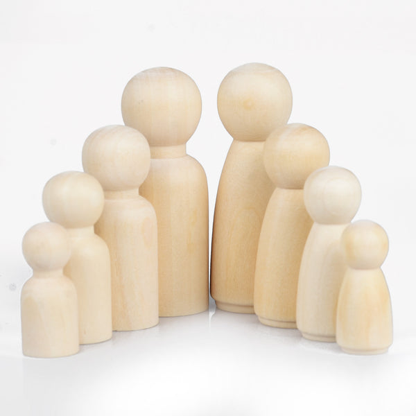 Wooden peg dolls Unfinished Solid Wood Peg Toy People Family Doll Bodies Paint Your Own 10pcs 102952