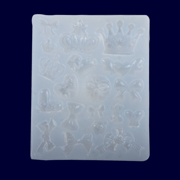 72*90mm Mirror Crown Ribbon Multi Style Silicone Mold Clay UV Epoxy silicone mold handmade 1pcs 10298250