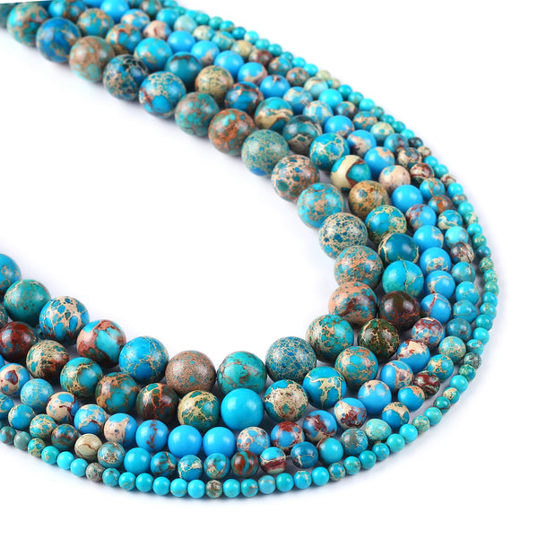 15'' Lake Blue Sea Sediment Jasper Beads 4/6/8/10/12mm Round Imperial Stone Jewelry Findings 102998