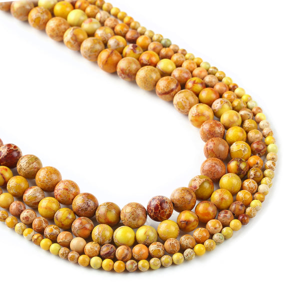 15'' Yellow Sea Sediment Jasper Beads 4 6 8 10mm round Imperial Impression Stone Jewelry Findings 103003