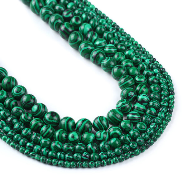 Green Synthetic Malachite Beads 4 6 8 10 12mm Full 15'' Strand Synthetic Round Wholesale 103010