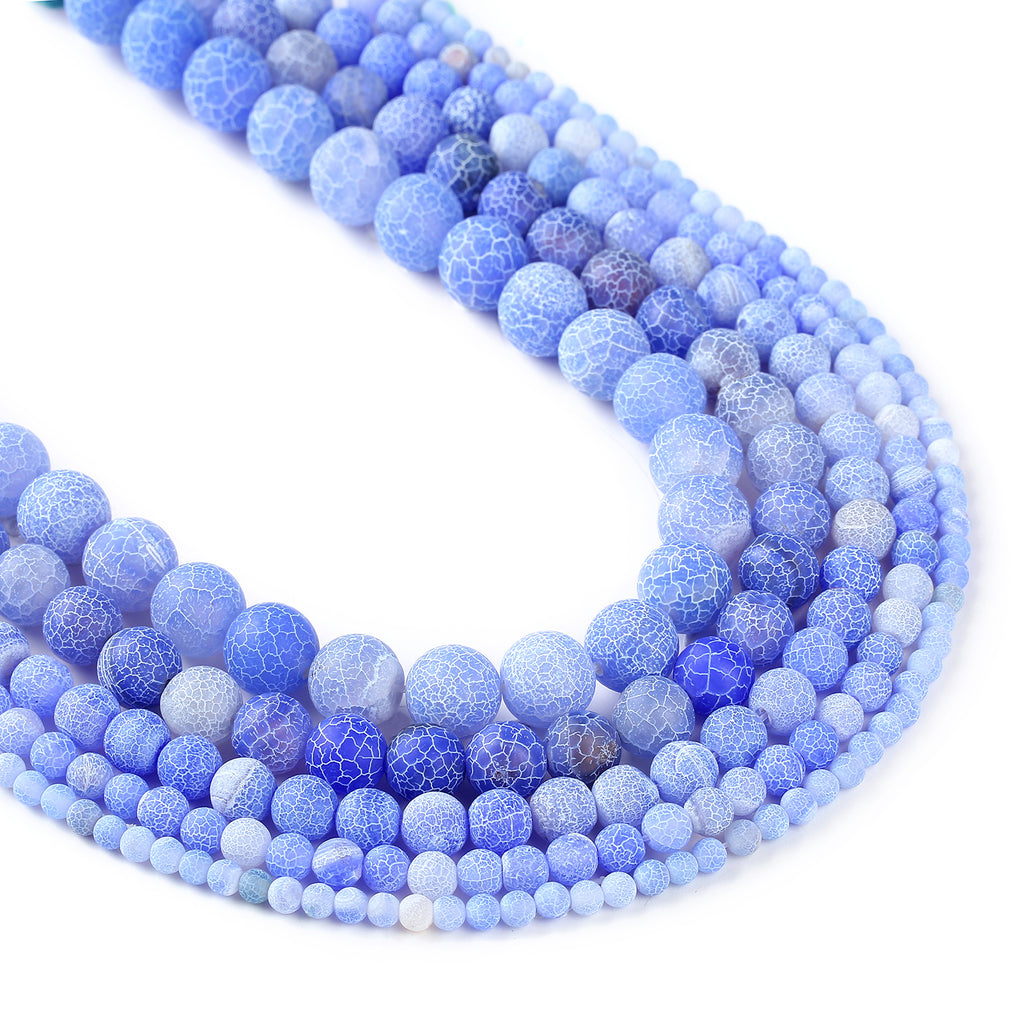 "15"" Light Blue weathered agate beads 4 6 8 10 12mm Round Matte Gemstone Beads Crackled Agate Bead 103016"