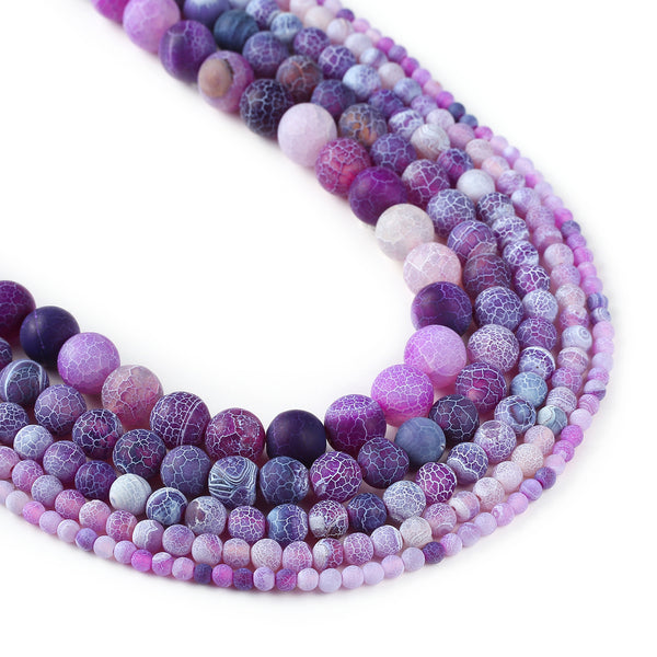 "Matte purple weathered agate beads 4 6 8 10 12mm Crackled agate beads Round Gemstone Beads 15"" Full Strand 103021"