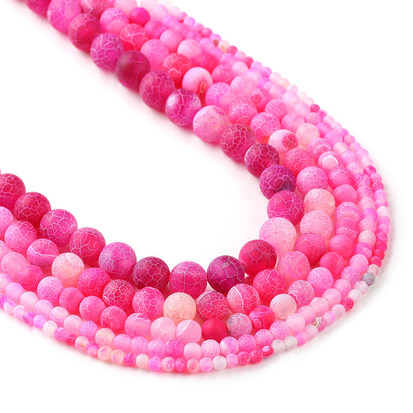 "Matte rose red weathered agate beads 4 6 8 10 12mm Frosted Agate Beads Round Gemstone Beads 15"" Full Strand 103022"