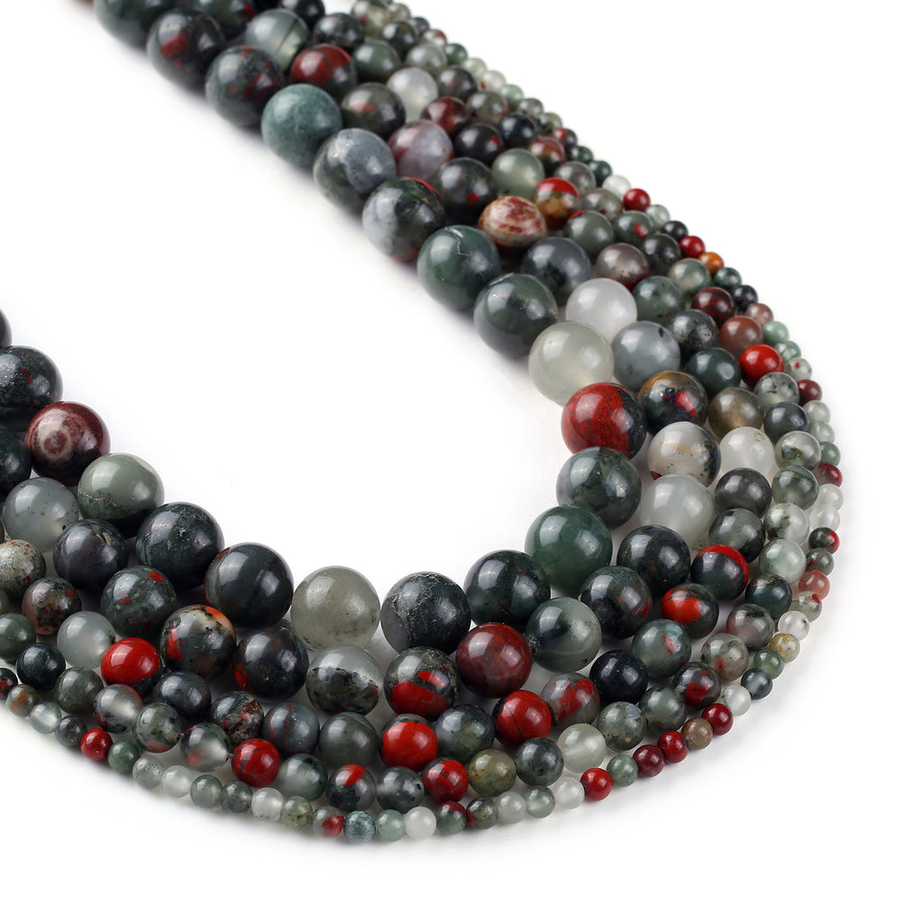 "African Bloodstone Beads 4 6 8 10 12mm Round Loose Gemstone beads For DIY Jewelry Making 15"" Full Strand 103057"