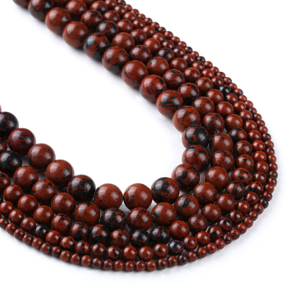 "High Quality Natural Mahogany Obsidian Beads 4 6 8 10 12mm Round Loose Gemstones Beads 15"" Full Strand 103063"