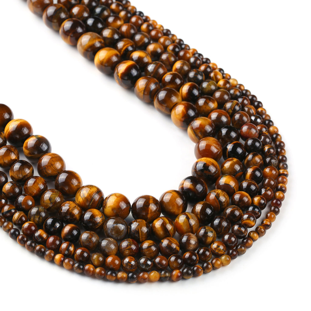 "Tiger Eye Beads Grade 1A 4 6 8 10 12mm Round Natural Gemstone Beads Jewelry Gift 15"" Full Strand 103067"