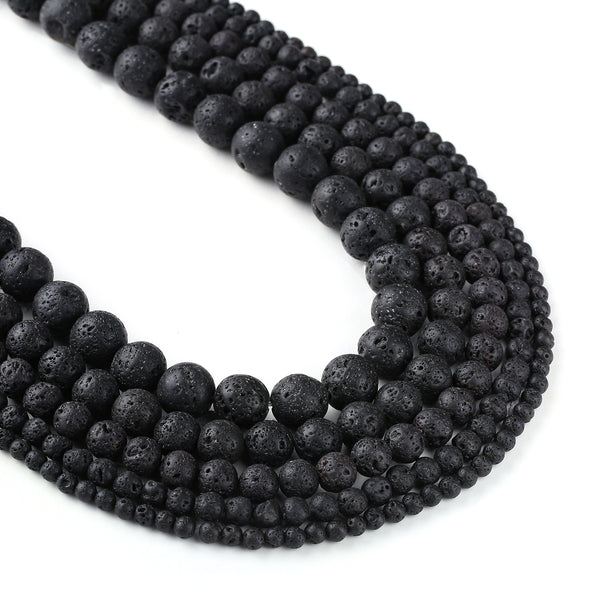 "Natural Lava Stone Beads 4 6 8 10 12mm Lava Rock Jewelry Beads Round Volcanic Lava Beads Wholesale 15"" Full Strand 103094"