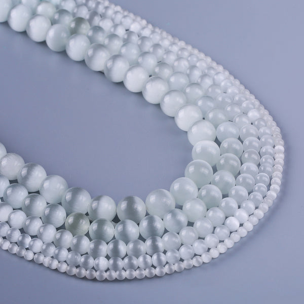 "Synthetic White Cat Eye Stone Beads 4 6 8 10 12mm Loose Gemstone Smooth Round Beads Craft Supplies 15"" Full Strand 103096"