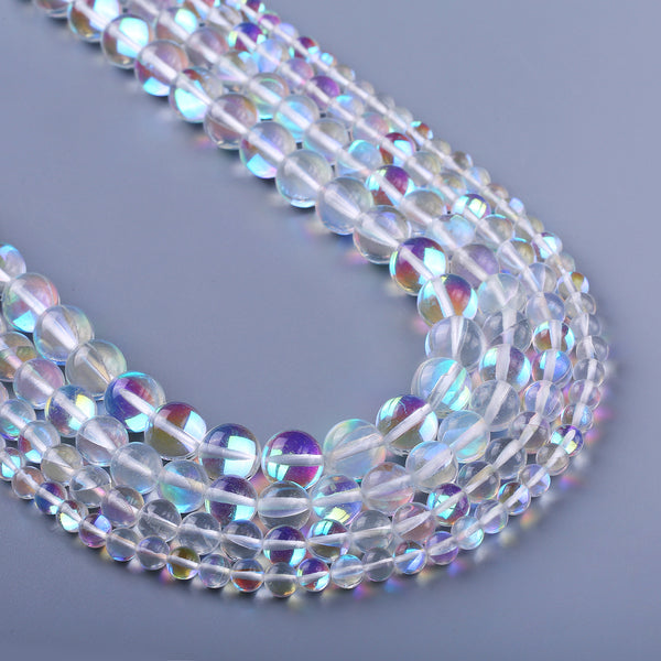 "Synthetic Flash Beads 6 8 10 12mm Loose Gemstone Smooth Round Beads Craft Supplies 15"" Full Strand 103097"