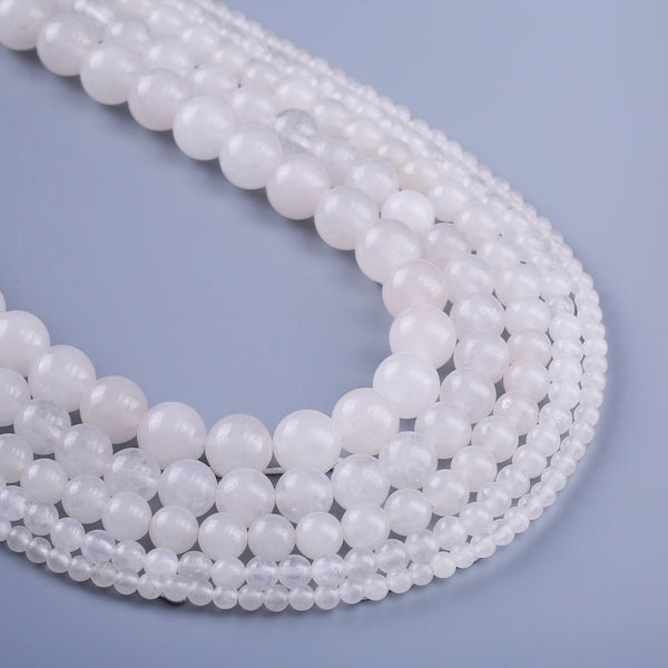 "Natural White Jade beads 4 6 8 10 12mm Round Beads For DIY Making Jewelry Decoration 15"" Full Strand 103098"