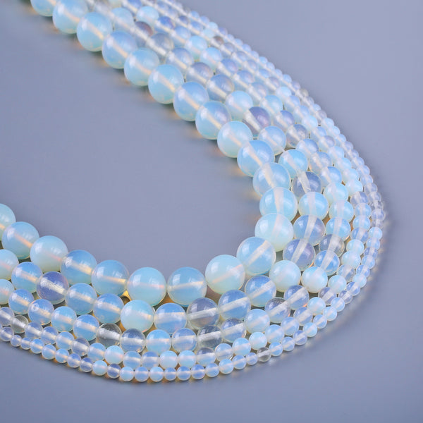 "Opal Stone Round Beads 4 6 8 10 12mm Smooth Opal Gemstone Beads Supply 15"" Full Strand 103099"