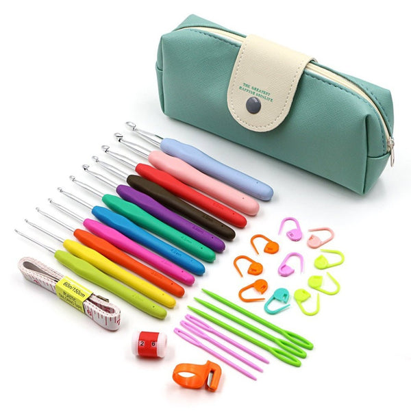 Crochet Hooks Set TPR soft Grip Aluminium Crochet Hook handles crochet accessories 1set 10311650