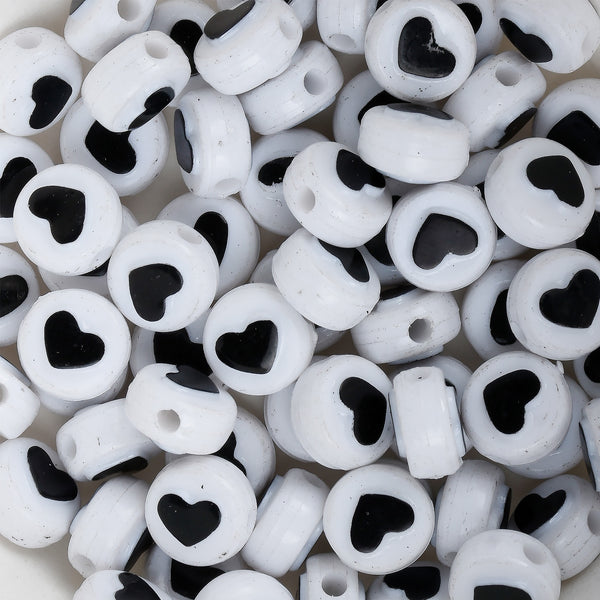 10MM Heart Acrylic Spacer Beads Round Shape Black and White beads craft beads 100pcs/bag 10312150