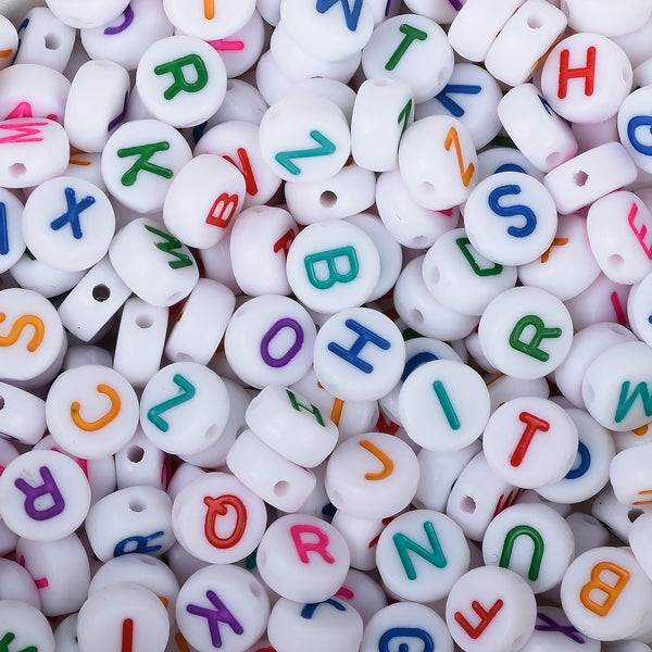 7mm Mixed Acrylic Alphabet Letter Beads Round Colorful White Alphabet Acrylic Beads ABC beads 100pcs/bag 103124