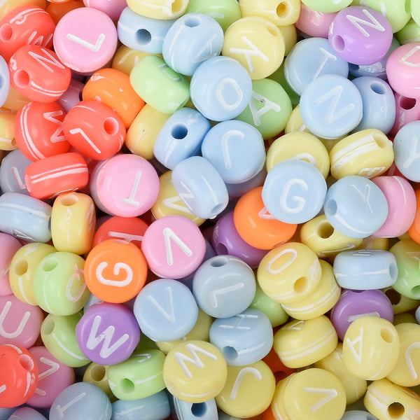 7mm Solid Color Acrylic Alphabet Beads name beads handmade bracelet necklace making 100pcs/bag 10312750