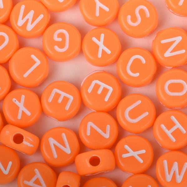 7mm Solid Orange Acrylic Alphabet Beads Name Beads Handmade Bracelet Necklace Making 100pcs/bag 10312752