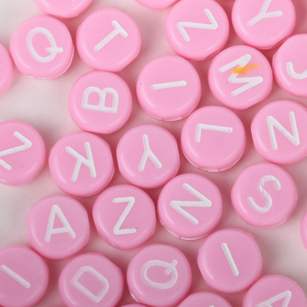 7mm Solid Pink Acrylic Alphabet Beads Name Beads Handmade Bracelet Necklace Making 100pcs/bag 10312753