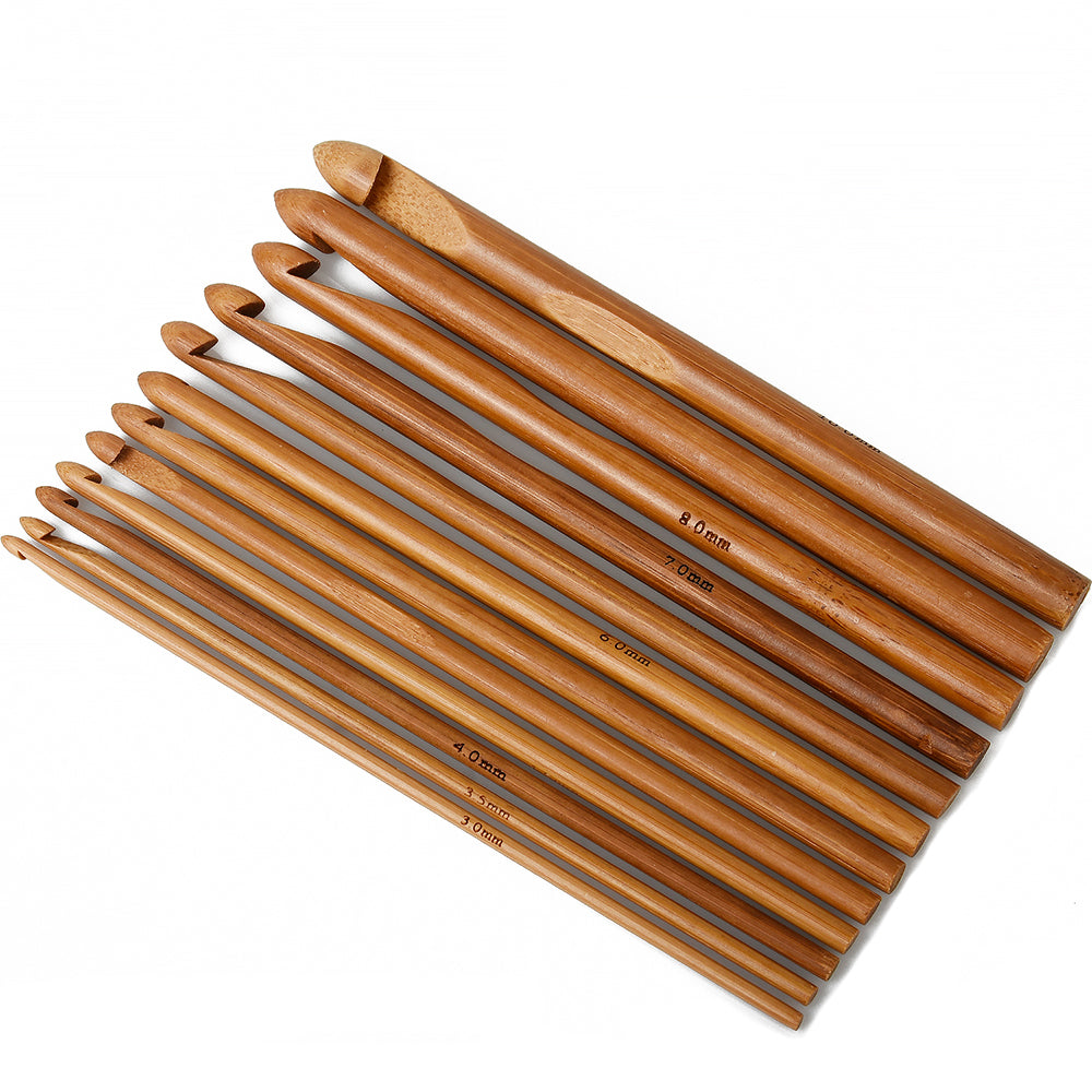 Set of 12 Carbonized Bamboo Crochet Hooks Crochet Needles Crochet Accessories 10316450