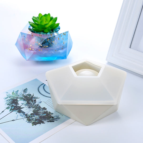 125*66mm Hexagon Polygon Mold Plant pot Silicone Mold Flowerpot Concrete Mold For Home Decoration 1pcs 10319050