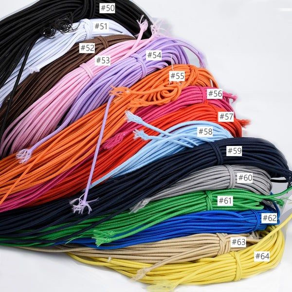 2mm Round Elastic Cord Elastic Rope Stretchable Beading Craft String Choose Color 5 yards 103200