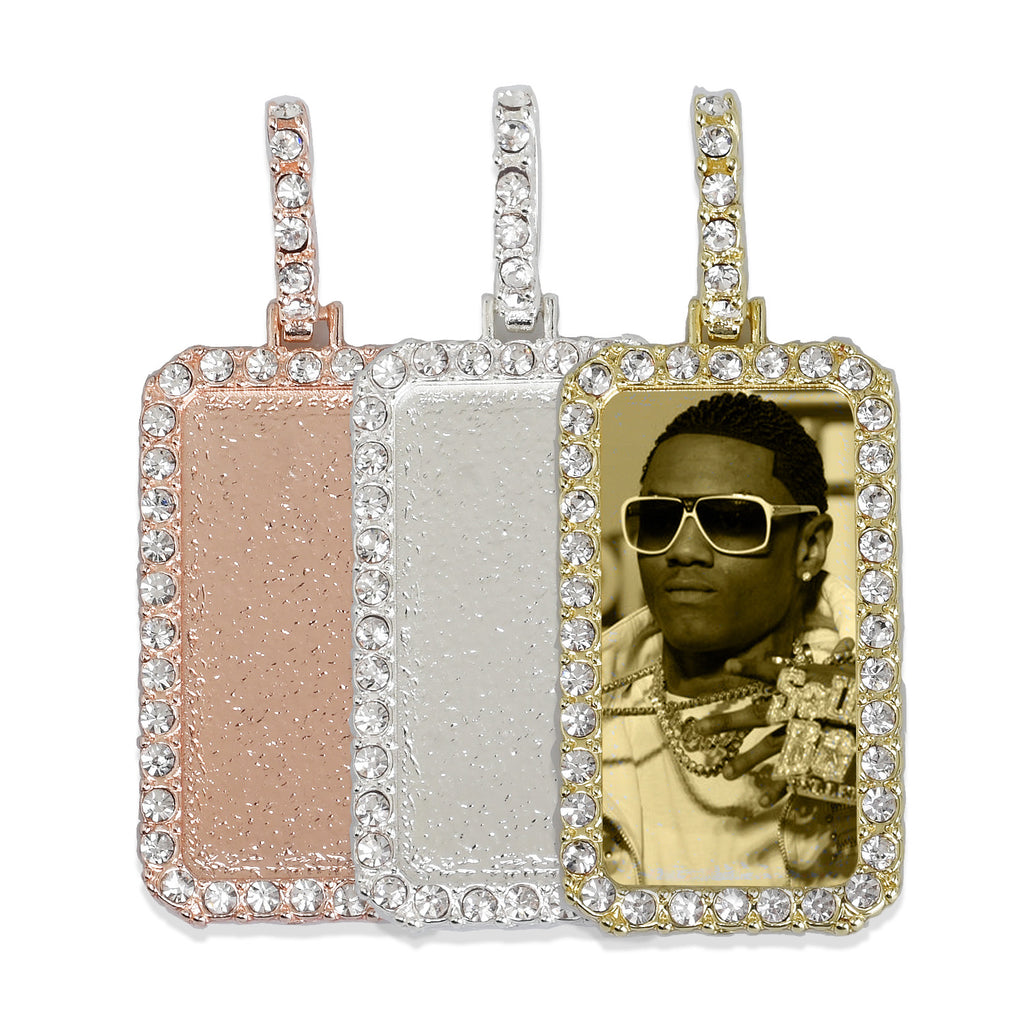 19*38mm Rectangle Picture Pendant Zircon Pendant Real Gold Plated Hip Hop Pendant For Gift 2 pieces/lot 103284