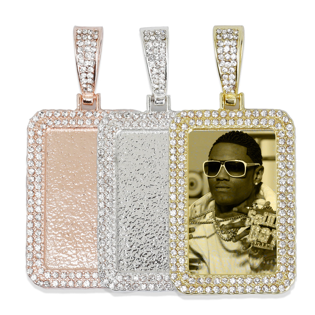 21*34mm Rectangle Picture Pendant Double Zircon Pendant Real Gold Plated Hip Hop Pendant For Gift 2 pieces/lot 103285