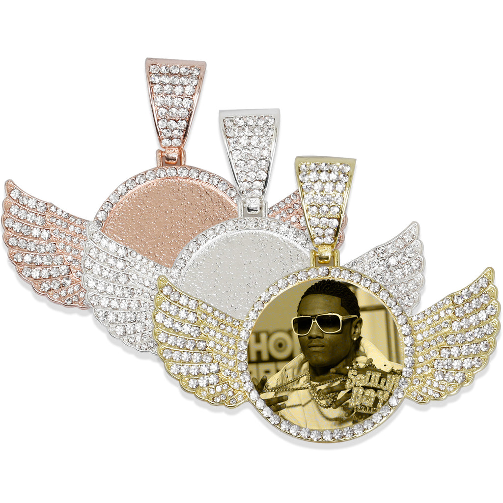 30mm Wing Picture Pendant Hip Hop Jewelry Gifts Mens Jewelry Zircon Pendant Real Gold Plated 2pcs 103286
