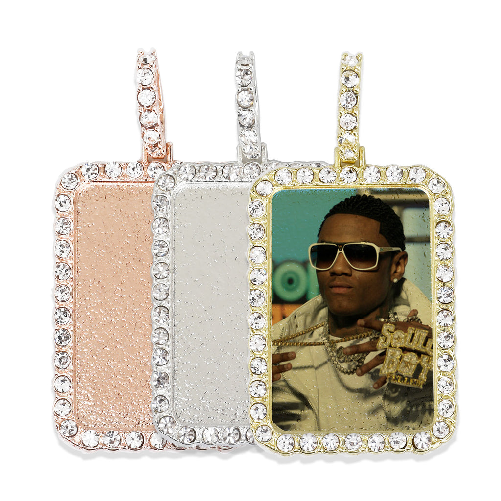 30*46mm Rectangle Picture Pendant Hip Hop Jewelry Gifts Zircon Pendant Real Gold Plated 2pcs 103288