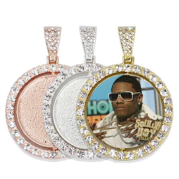 29mm Double Sided Rotating Pendant Hip Hop Jewelry Gifts Zircon Pendant For Picture Real Gold Plated 2pcs 103291